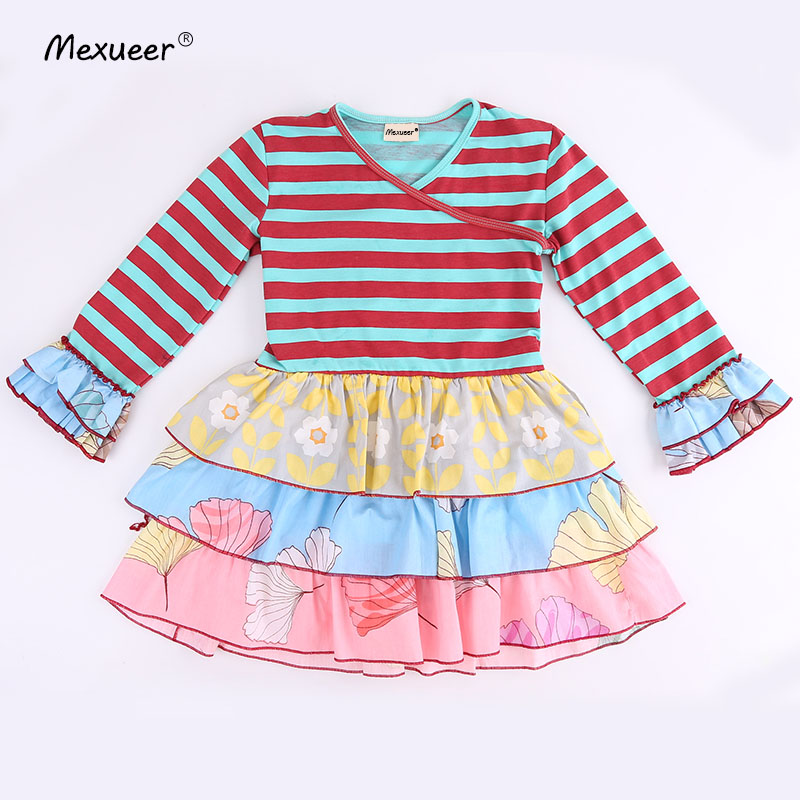Special solid three ruffles and full sleeves and same color trim 100% cotton and kids of Baby Girls Dress Apparel Accessory scallop trim cami dress