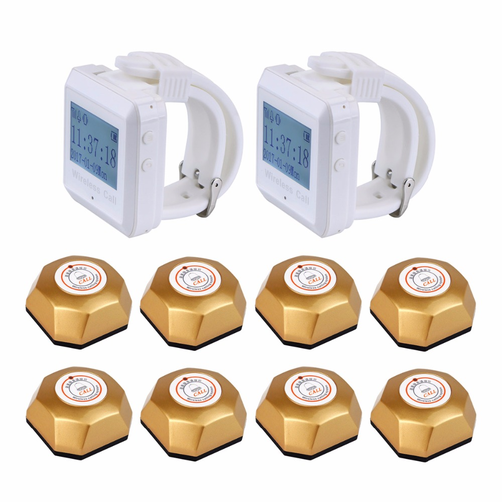 Wireless Calling Paging System 2pcs Wrist Watch Receiver Host+ 8pcs Gold Call Transmitter Button 433MHz for Hotel Coffee F3258 433mhz restaurant bar wireless call paging system 1pcs watch receiver host 10pcs transmitter button restaurant equipment f3258