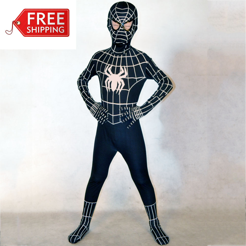 black spiderman costume kids Halloween costumes for kids Children superHero party Cosplay Spandex zentai Full bodysuit Custom