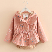 Baby Girl Outerwear New Autumn Fashion Printing Kids Coats Girls 2016 Long Sleeve Hooded Casual Children