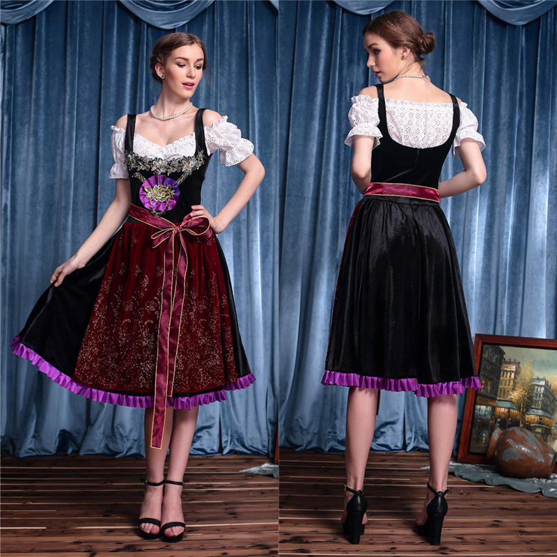 Women Oktoberfest Dress Adults Female Fancy Sexy Gorgeous Costume Beer Festival Party Maid Cosplay Fantasy Long Dresses 2017