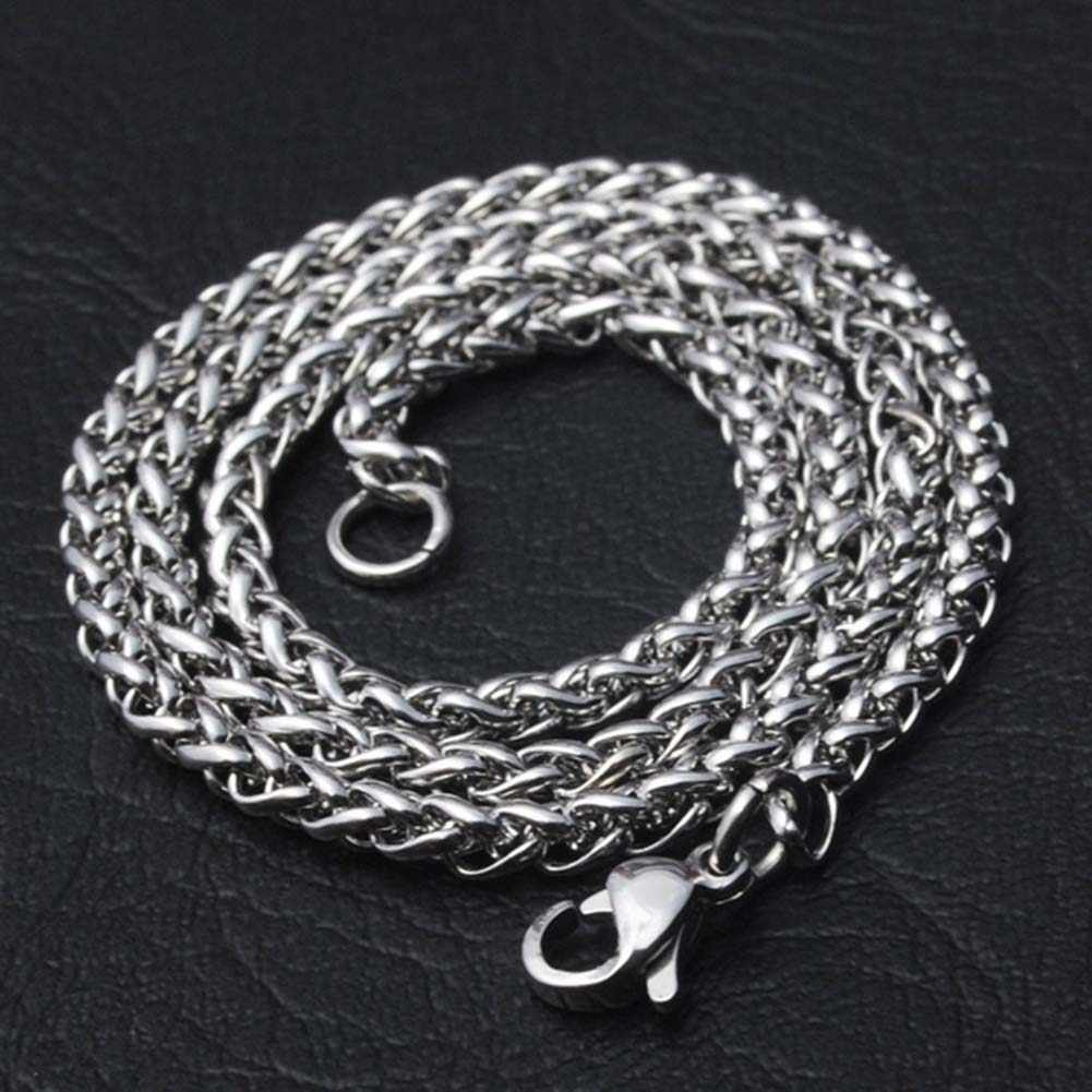 Men Braided Wheat Shape Stainless Steel Chain Necklace DIY Jewelry Accessory Durable Stainless Steel Chain For DIY Necklaces