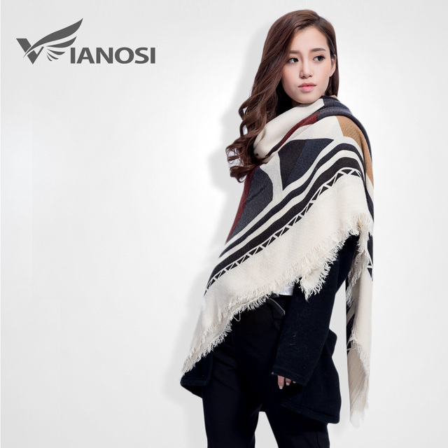 [VIANOSI] Square Scarf Women Geometry Printed Winter Female Trendy Brand  Ashmere Shawls VS061