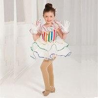 Original Ballet Dance Dresses For Girl White Color Tutu Gauze Professional Suits Beauty Feminine Children Fluffy Costumes B175
