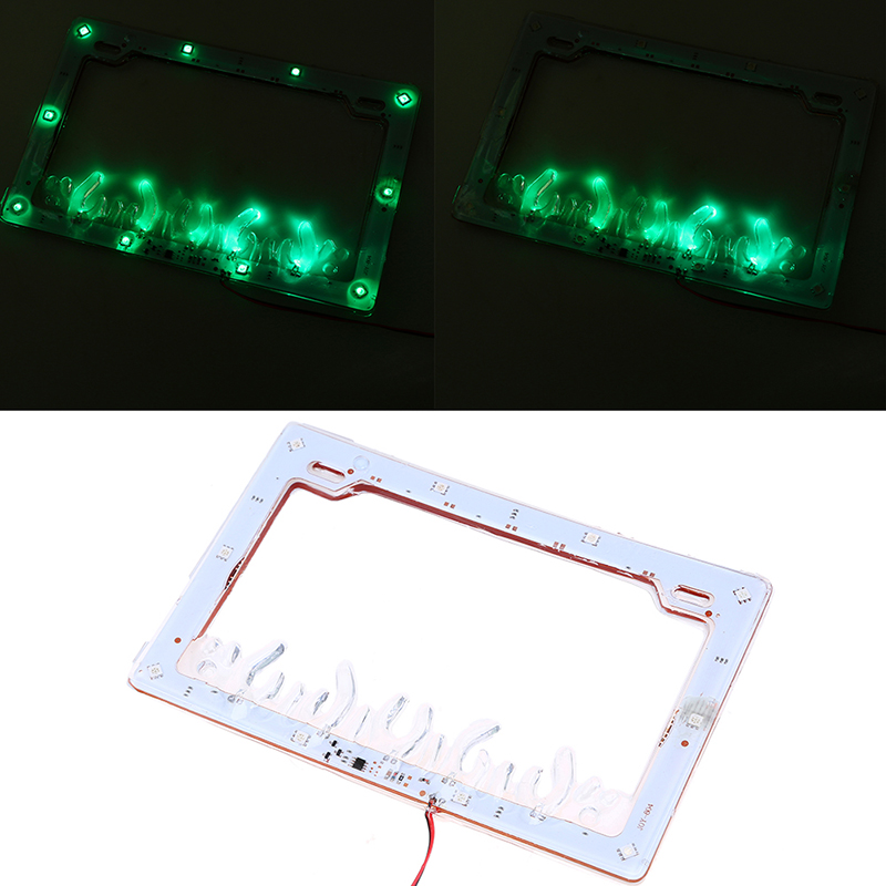 Universal Multi color Flash Motorcycle LED 12V License Plate Frame Cover for Honda Yamaha Suzuki Harley Motocross License Plates in License Plate from Automobiles Motorcycles