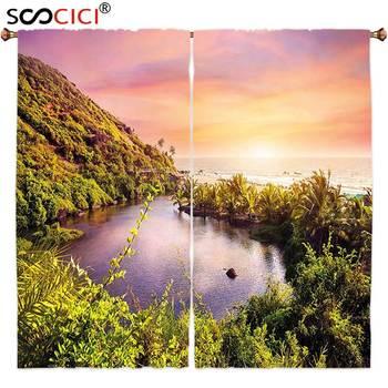 Window Curtains Treatments 2 Panels,Landscape Tropical India Goa Arambol Beach Sweet Lake with Forest Trees Scenery Artwork