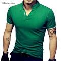 Venta caliente de Los Hombres Con Cuello En V T Shirt 2017 Verano Sólido de La Manera Corta manga corta Camiseta del Hombre LAISO Imprimir Collar Slim Fit Para Hombre Top Tees camisa