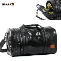 Wellvo Men PU Leather Travel Duffle Bag Round Bucket Shape Handle Bag Crossbody Bags Shoes Storage Handbag sac de voyageXA131WC