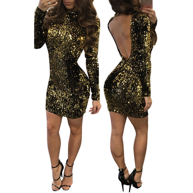 b8d59f26075a € 32.1 |Sexy vestido de lentejuelas vendaje dress mujeres vestidos de  fiesta retro de oro negro de la vendimia de cuello alto bodycon clubwear ...