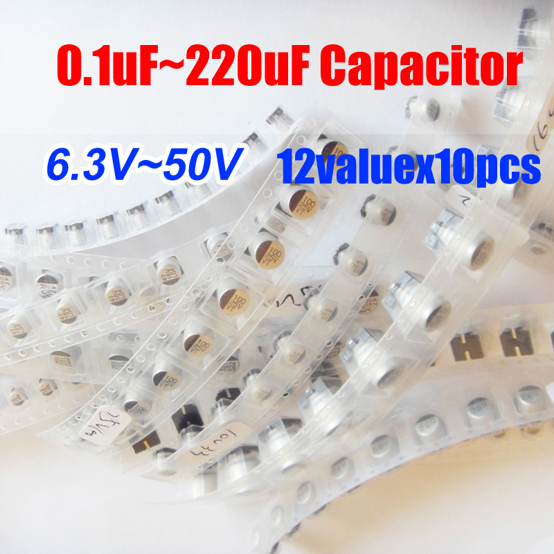 12valuesX10pcs=120pcs SMD <font><b>6.3V</b></font>~50V 0.1uf~<font><b>220uf</b></font> <font><b>Aluminum</b></font> <font><b>Electrolytic</b></font> <font><b>Capacitor</b></font> Assortment Kit Pack for Computer Motherboard image