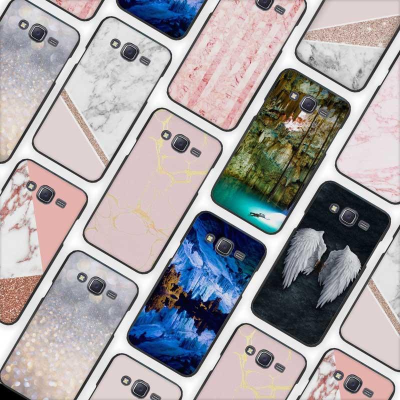 Stalactite Pink Marble glitter Black Case Cover Shell for Samsung Galaxy J1 J3 J2 J5 J7 Prime 2016 2017