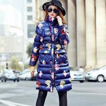 Зимняя куртка женщины 2016 новый стенд воротник зимнее пальто женщины долго печатных вниз хлопка-ватник женский верхней одежды F3795