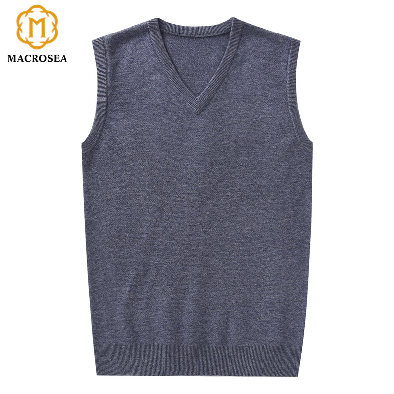 MACROSEA Thick Men's Winter Wool Vest Sweaters Solid Color V-Neck Sleeveless Vest Pullover Men Business Formal Classic Sweater