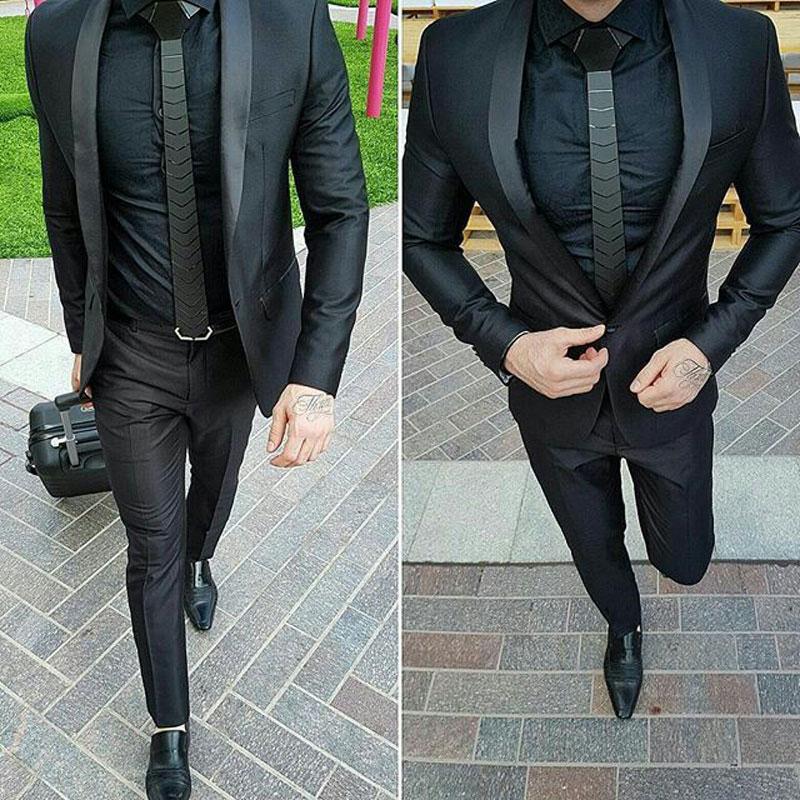 Men Suits For Wedding Black Business Jacket Formal Groom Tuxedos Evening Party Best Man Blazer 2Piece Slim Fit Terno Masculino