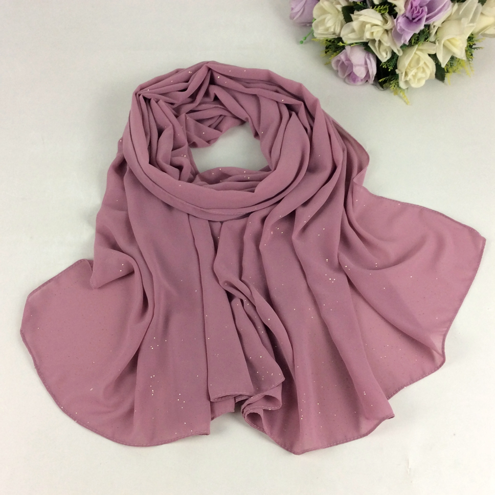 Shimmer Plain Soft Bubble Chiffon Hijabs Solid Women Spring Scarfs 2019 Muslim Hijab Long   Scarf     Wrap   High Quality 10pcs/lot