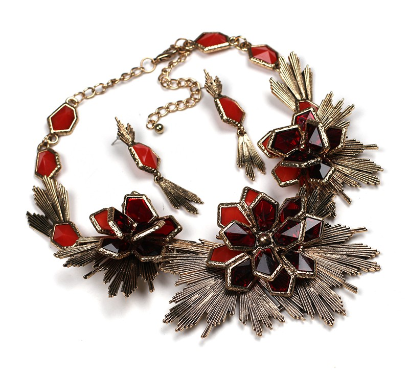 Flower jewelry set necklace matching earring fashion Unique Europe Party choker statement Necklace pendant necklace jewelry (red) NHJJ0798