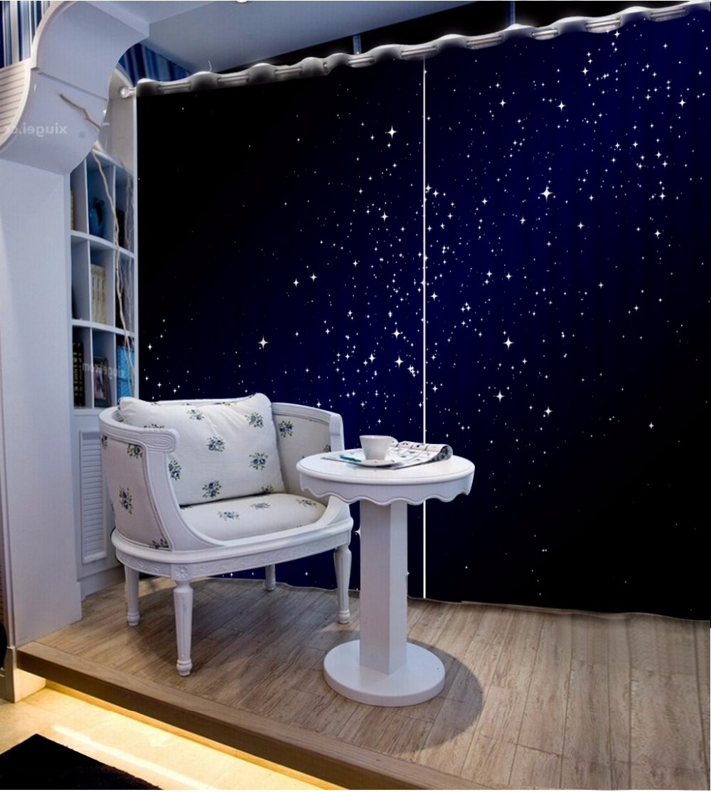 3D Curtain Photo Customize Sky Night Stars Curtains For Bedroom Curtains For Living Room Blackout Shade Window