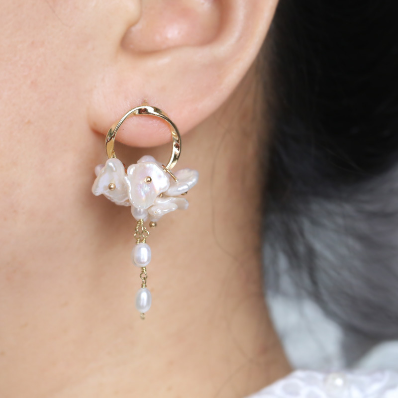 direct sales of hand-made Long-style LiuSu Baroque natural freshwater pearl earrings women jewelry wholesale