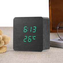 New Arrival Wooden Alarm Clock Digital Led Light Display Time Calendar Temperature Table Alarm Clock AAA/USB Voice Sound Control