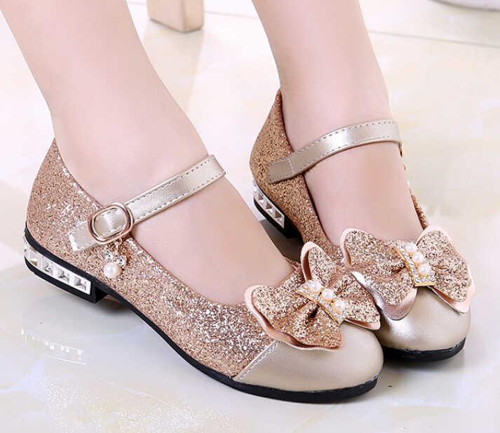 buena calidad sitio autorizado ofrecer descuentos Nuevo 2019 niños princesa zapatos niñas lentejuelas niñas boda fiesta niños  vestido zapatos para niñas rosa/Rosa rojo/ oro zapatos de la escuela