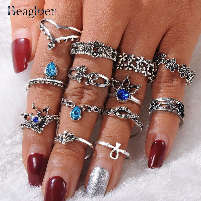 Beagloer Crystal Ring With 13Pcs/Set For Women Silver Color Flower Horse Bohemia