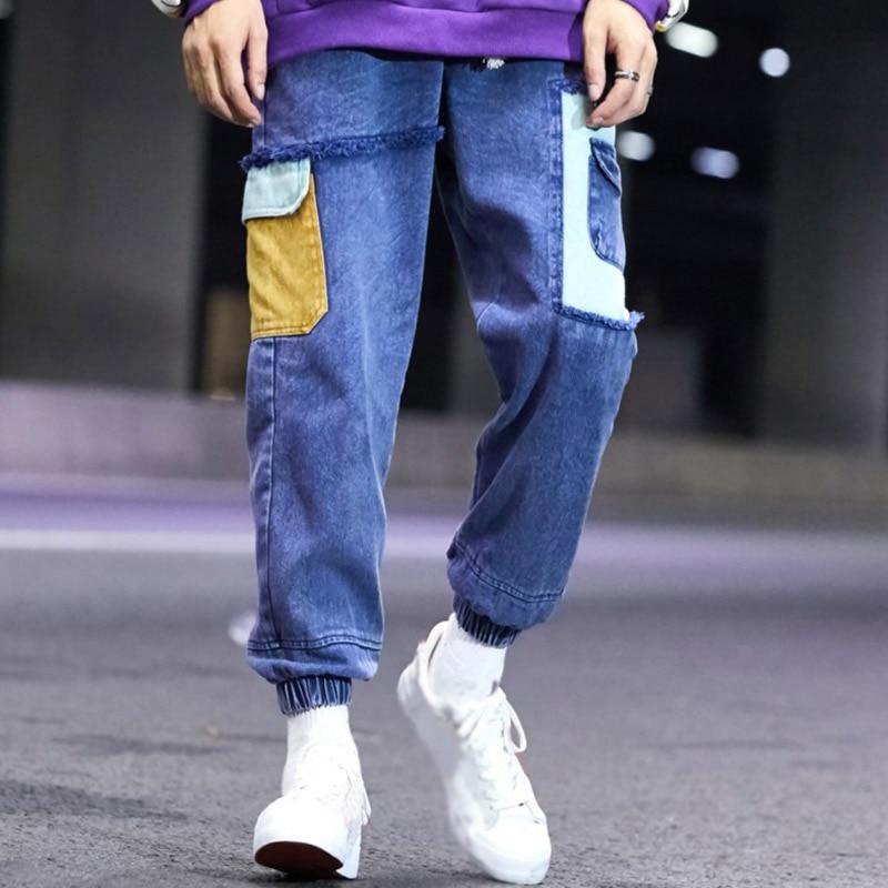 Gli Pantaloni Laterale Uomo Modo Blocco Per Denim Larghi orange Aolamegs  Uomini Strappati Blue Biker Di Cotone Streetwear Cerniera ... 8a975d1cf7f9