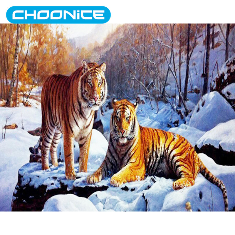 Diamond Painting Cross Stitch Diamond Painting Tiger Diy 3d Diamond Embroidery Tiger Family Sets For Embroidery With Beads Snow Mountain Mosaic Drawings