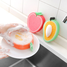 1pc Sponge Scouring Pad Cute Fruit Shape Sponge Brush Tableware Soft Wash Dishes Remove Stains Cleaning Tool Kitchen Accessories