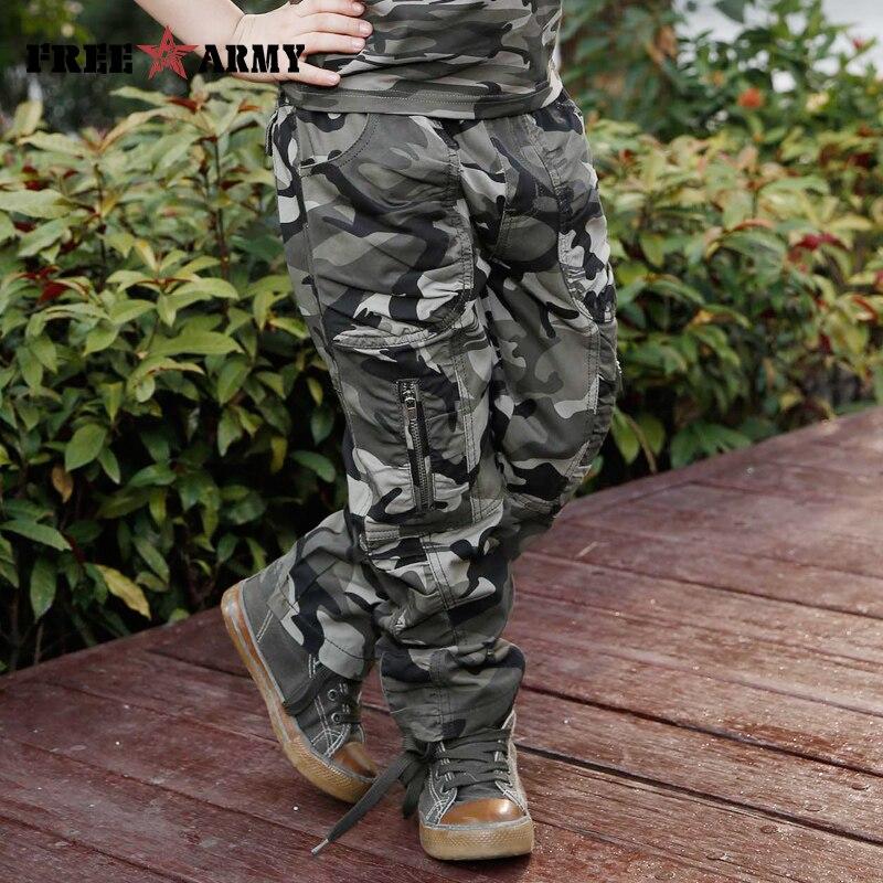 Yeni bahar pambıq kamuflyaj şalvar oğlanlar hərbi uşaqlar - Uşaq geyimləri - Fotoqrafiya 2