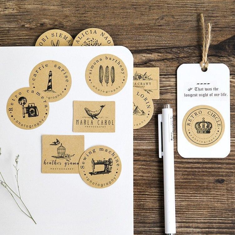 2box/lot 8 Designs Vintage Kraft Paper Scrapbooking Planner Stickers Post it Bullet Journal Stickers Decorative Label Sticker