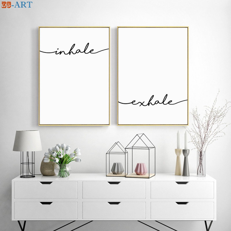 Inhale Exhale Sign Prints Quotes Posters Modern Canvas Painting Decoration Pictures Yoga Room Wall Art Relaxation Gift Unframed