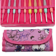 10 Pcs Sizes 2.0mm-6.0mm New Colorful TPR Soft Handle Aluminum Crochet Hooks Knitting Needles Set