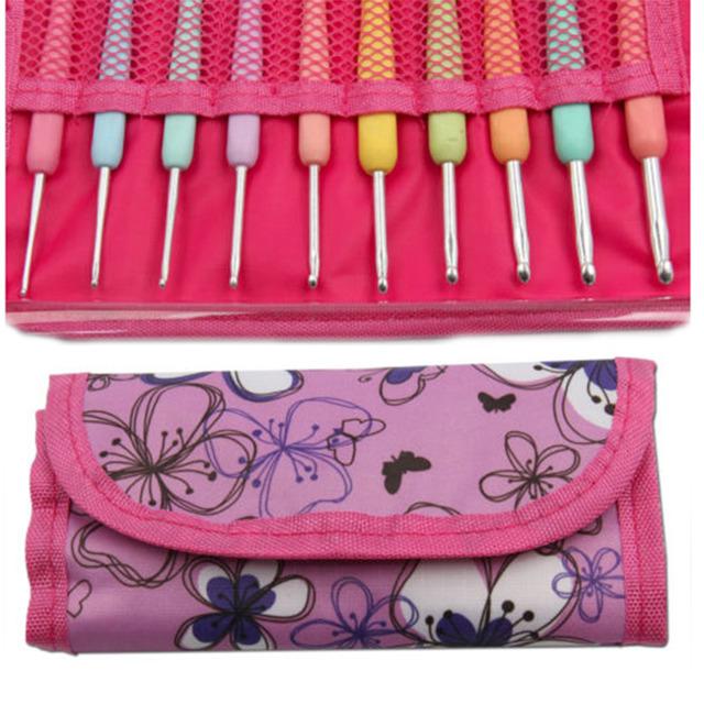 10 Pcs Sizes 2.0mm-6.0mm New Colorful TPR Soft Handle Aluminum Crochet Hooks Knitting Needles Set