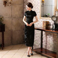 Chinese Traditional Cheongsam Women Silk Satin Plum Blossom Long Dress Size S To 6XL