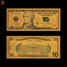 Billetes de oro de los Estados Unidos al mejor precio, billetes chapados en oro de 10 dólares en 24K, colección de papel de dinero falso