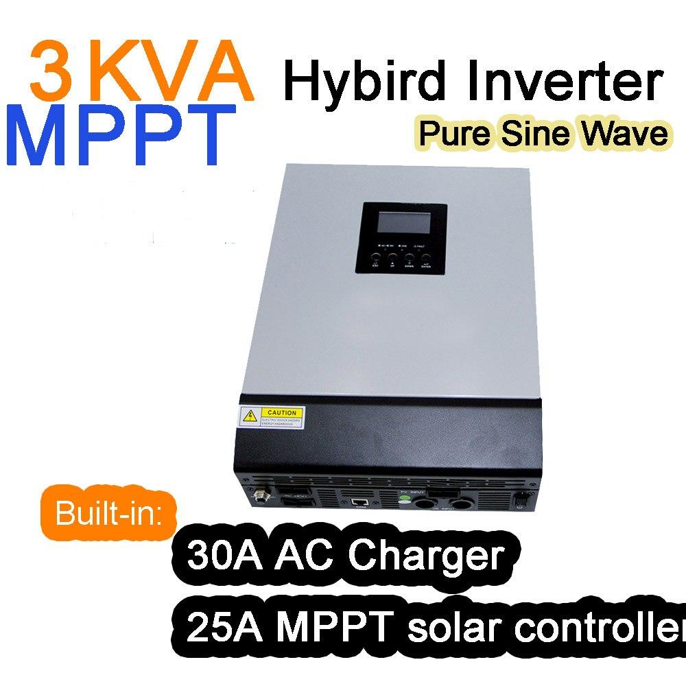 Solaire Onduleur 3KVA 3000VA 2400 W 24 V 220 V 25A MPPT Hybride Onduleur Onde sinusoïdale Pure Onduleur 30A batterie Chargeur