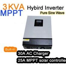 Солнечный инвертор 3KVA 3000VA 2400 Вт 24 В 220 В 25A MPPT Гибридный Мощность Инвертор Чистая синусоида Инвертор 30A батарея Зарядное устройство