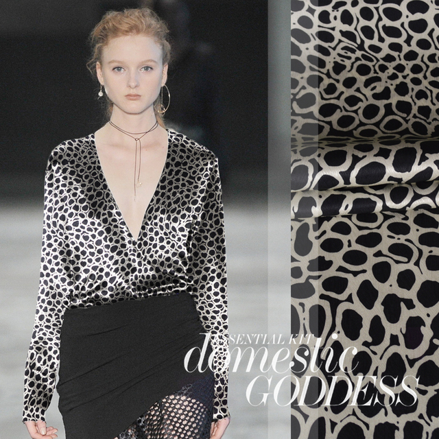 Free shipping New herringbone Black spot printed silk stretch satin  summer shirt fashion mulberry silk  fabrics