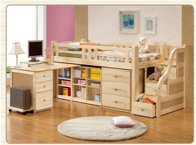 Children S Bed Slides Stepping Computer Desk Furniture Suite Combination Of