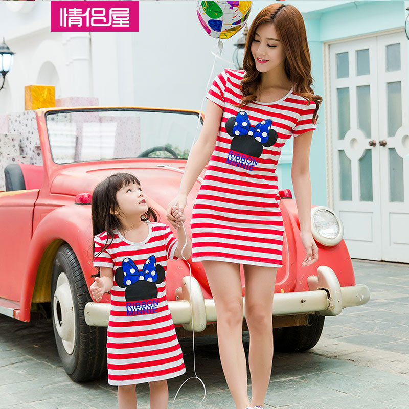 2015 new summer family sets fashion striped minnie mother daughter dresses roupas mae e filha  -  Baby Heart store