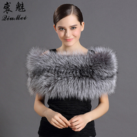 Top Women Fox Fur Shawl Solid Winter Grey White Color Party Daily Protected Warming Natural Animal Fur Elegant Female Fur Shawls