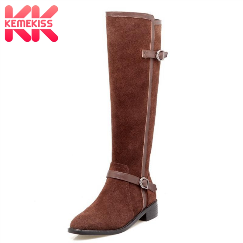 KemeKiss Women Real Leather Over Knee High Heel Boots Zipper Buckle Boots Winter Shoes Warm Long Botas Women Footwear Size 34-39 coolcept size 31 45 warm winter boots for women real leather over knee long boots women rivets thick high heels warm botas
