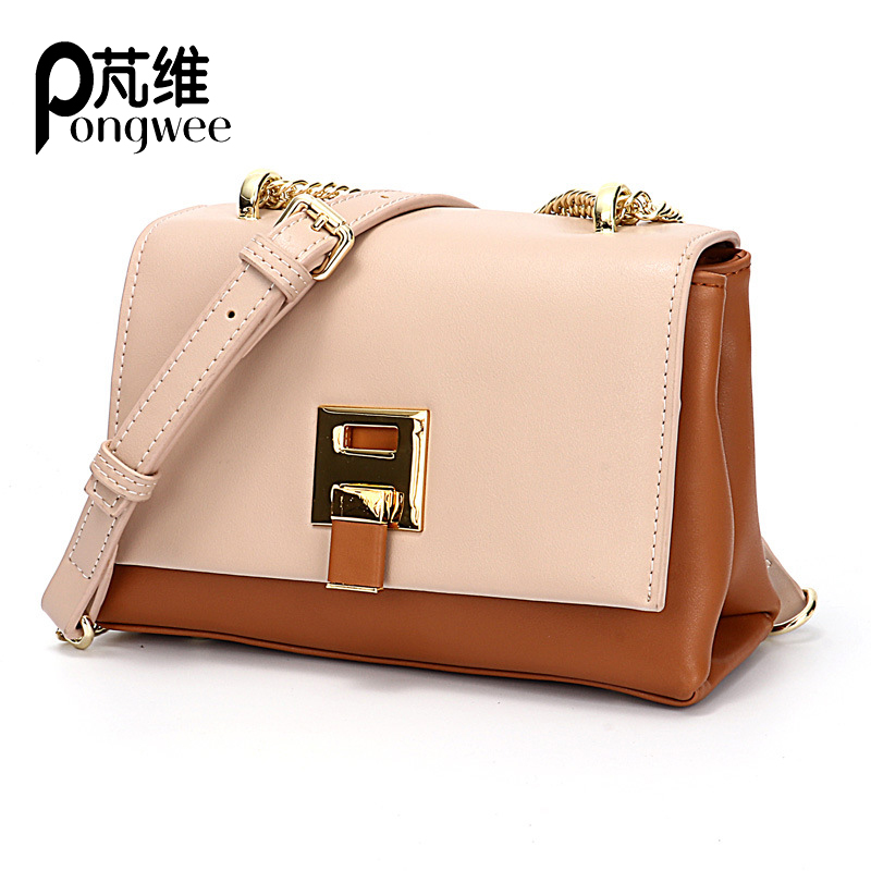 PONGWEE Women's Bag 2018 New Fashion Genuine Leather Shoulder Slung Simple Chain Bags Trend Wild Small Square Purse