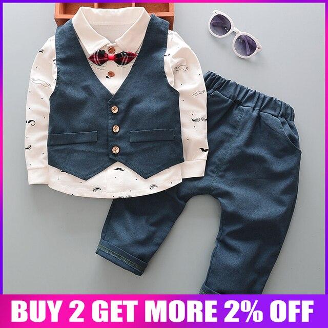 BibiCola בגדי תינוק סט בגדי ילדים פורמליות חליפת ילד אדון קשת פעוט בני בגדי סט יום הולדת שמלת בית ספר ללבוש