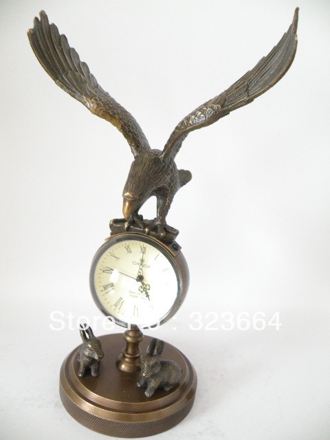 Collectible Old Bronze Mechanical Clock With Hawk/Eagle Statue,24 Cm