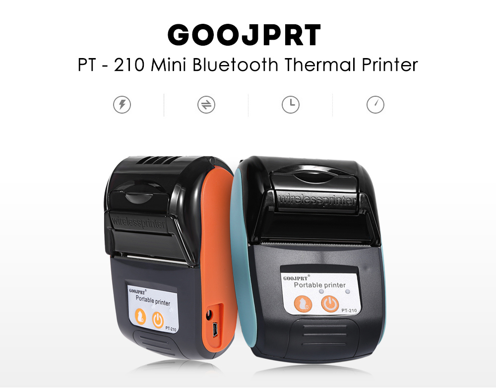 GOOJPRT PT - 210 58MM Bluetooth Thermal Printer Portable Wireless Receipt Machine for Windows Android iOS gold earrings for women