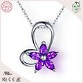 Fashionable Lucky Amethyst Stone Authentic Silver Flower Heart Pendant