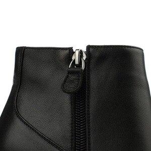 Image 5 - ALLBITEFO size33 41 العلامة التجارية أزياء النساء الأحذية جلد طبيعي الكريستال أسافين حذاء من الجلد النساء أحذية الحفلات امرأة عالية الكعب أحذية