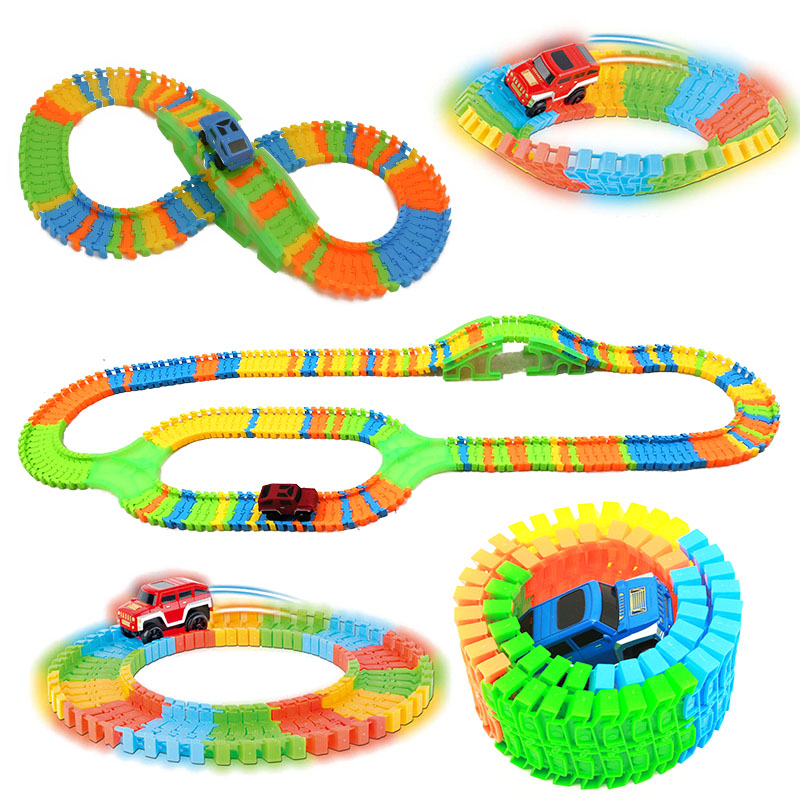 DIY Assemble Universal Racing Set Track Car Flexible Educational Rail Car Puzzle Toy for Kids image