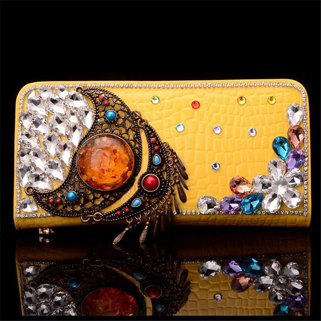 Women Wallet Crystal Clutch Bags Luxury Floral Handbags Moon Vintage Evening Bags Rhinestone Purse Cow Leather Ladies Gift Bags